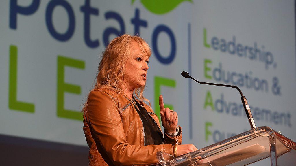 Chair Shelley Olsen announces the creation of Potato LEAF at Potato Expo 2020 in Las Vegas.